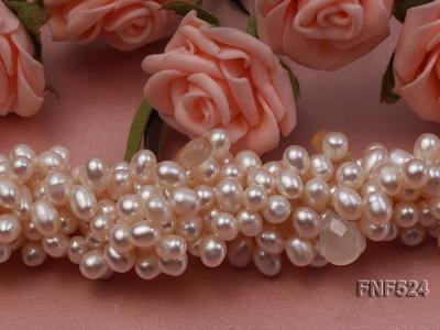 Multi-strand 5x7mm White Cultured Freshwater Pearl Necklace with Faceted Agate Beads FNF524 Image 6