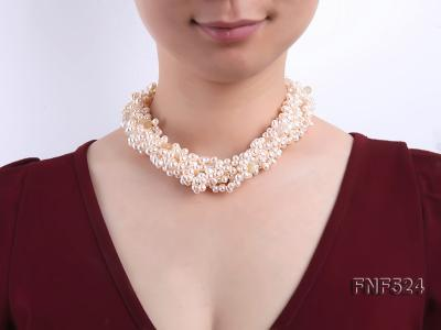 Multi-strand 5x7mm White Cultured Freshwater Pearl Necklace with Faceted Agate Beads FNF524 Image 2