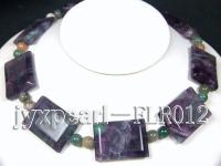 27x35mm colorful quadrate fluorite alternated with 10mm moss agate necklace with white gilded clasp FLR012