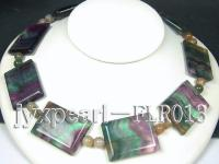 32x40mm colorful rectangle fluorite and 10mm moss agate necklace with white gilded clasp FLR013