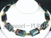 20x30mm colorful rectangle fluorite and 10mm moss agate necklace with white gilded clasp FLR014