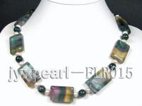 20x30mm colorful flat fluorite and green round agate necklace FLR015
