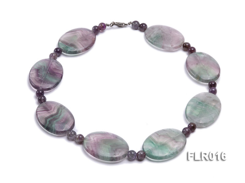 30x40mm Oval Fluorite Pieces and Round Moss Agate Beads Necklace big Image 1