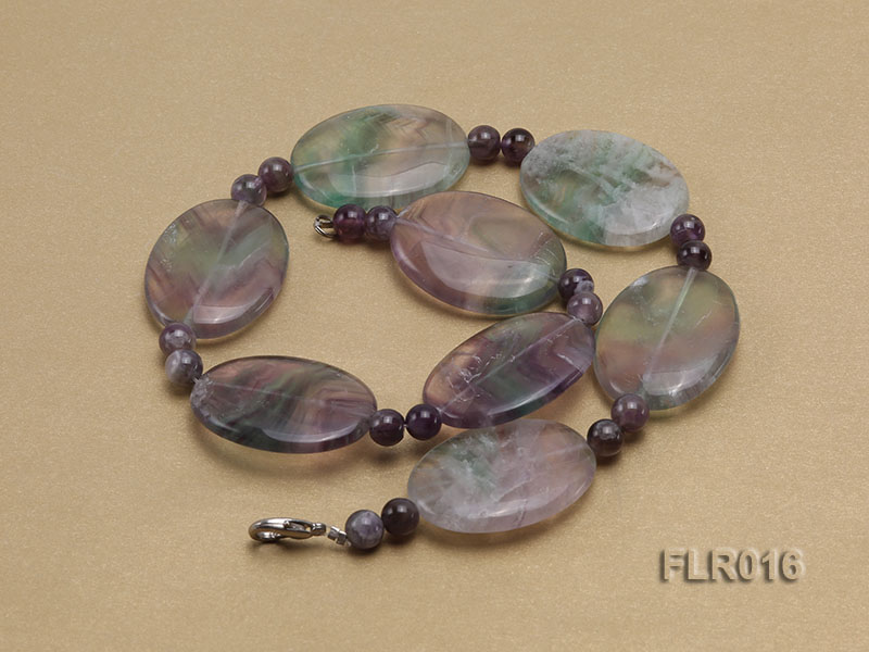 30x40mm Oval Fluorite Pieces and Round Moss Agate Beads Necklace big Image 2
