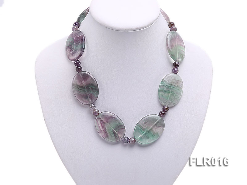 30x40mm Oval Fluorite Pieces and Round Moss Agate Beads Necklace big Image 5