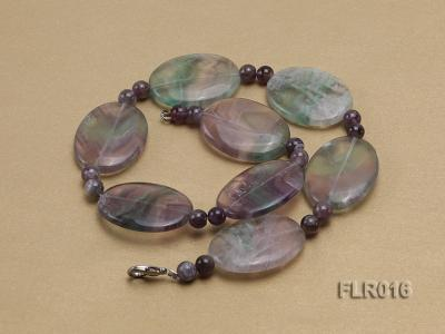 30x40mm Oval Fluorite Pieces and Round Moss Agate Beads Necklace FLR016 Image 2
