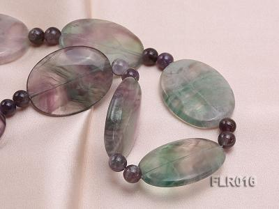 30x40mm Oval Fluorite Pieces and Round Moss Agate Beads Necklace FLR016 Image 4