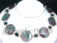30mm colorful round flat and agate fluorite and round moss agate and white round pearl necklace FLR018