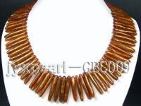 6x40mm Tooth-Shaped Golden Coral Necklace  GBC009
