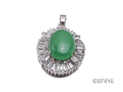 25X30mm Green Jade Cabochon Pendant with Zircon GSP016 Image 1