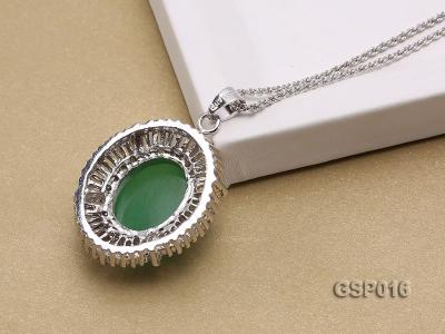 25X30mm Green Jade Cabochon Pendant with Zircon GSP016 Image 2