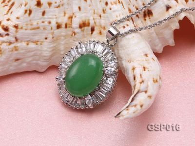 25X30mm Green Jade Cabochon Pendant with Zircon GSP016 Image 3