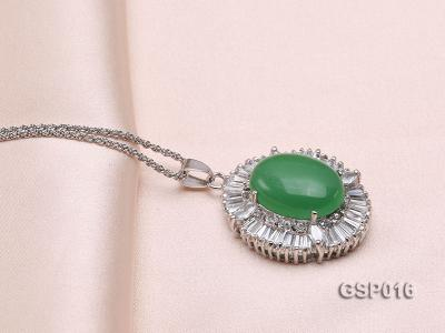 25X30mm Green Jade Cabochon Pendant with Zircon GSP016 Image 4