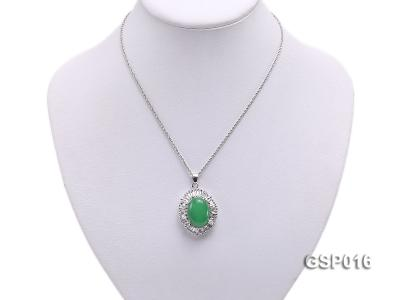 25X30mm Green Jade Cabochon Pendant with Zircon GSP016 Image 5