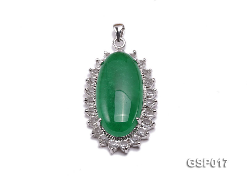 23x36mm Green Jade Cabochon Pendant with Zircon big Image 1