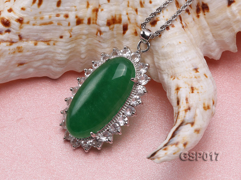23x36mm Green Jade Cabochon Pendant with Zircon big Image 3