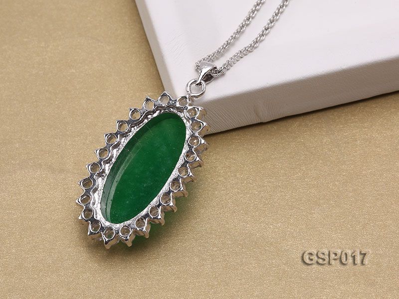 23x36mm Green Jade Cabochon Pendant with Zircon big Image 4
