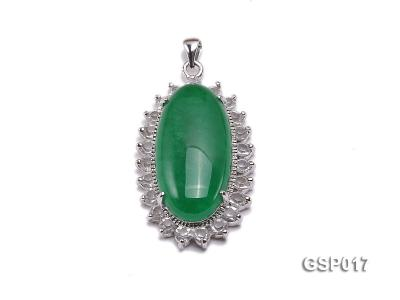 23x36mm Green Jade Cabochon Pendant with Zircon GSP017 Image 1