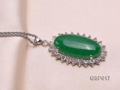 23x36mm Green Jade Cabochon Pendant with Zircon GSP017 Image 2