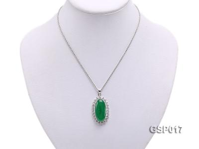 23x36mm Green Jade Cabochon Pendant with Zircon GSP017 Image 5