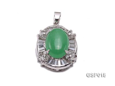 23x27mm Green Jade Cabochon Pendant with Zircon GSP018 Image 1
