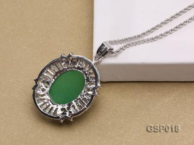 23x27mm Green Jade Cabochon Pendant with Zircon GSP018 Image 2