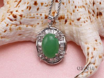 23x27mm Green Jade Cabochon Pendant with Zircon GSP018 Image 3