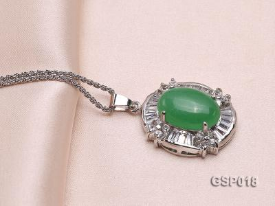 23x27mm Green Jade Cabochon Pendant with Zircon GSP018 Image 4
