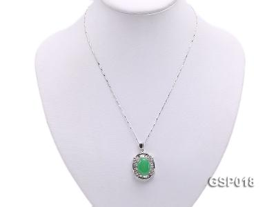 23x27mm Green Jade Cabochon Pendant with Zircon GSP018 Image 5