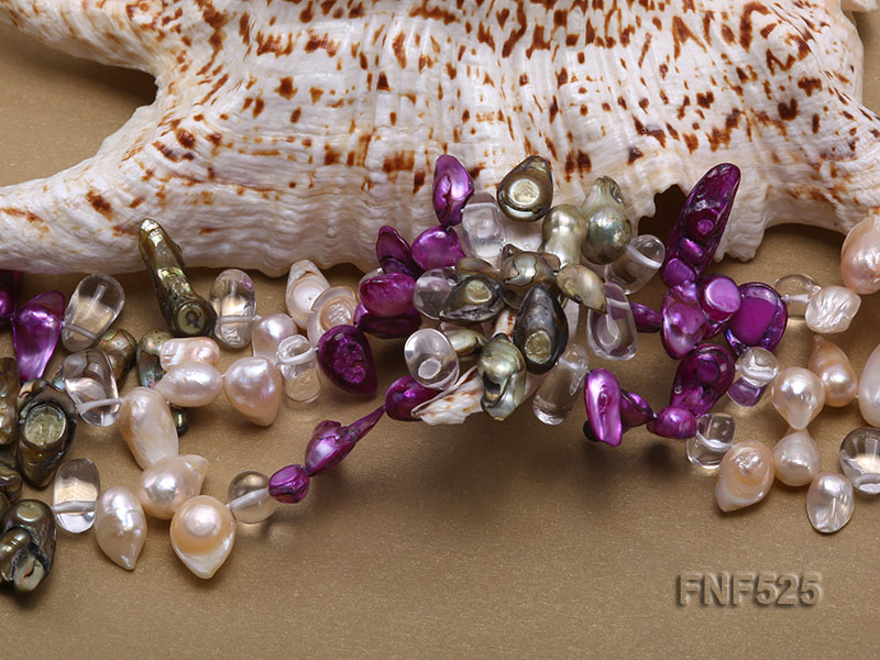 Three-strand 12-15mm Colorful Freshwater Pearl Necklace with Crystal Beads big Image 4