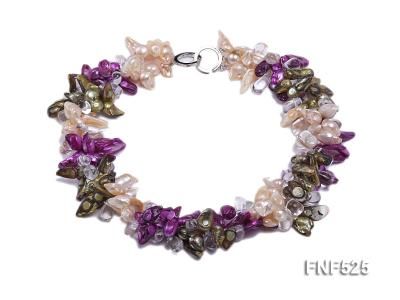 Three-strand 12-15mm Colorful Freshwater Pearl Necklace with Crystal Beads FNF525 Image 1