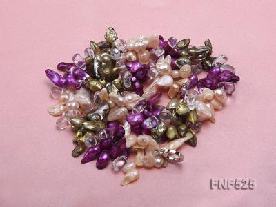 Three-strand 12-15mm Colorful Freshwater Pearl Necklace with Crystal Beads FNF525 Image 2