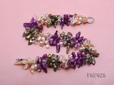 Three-strand 12-15mm Colorful Freshwater Pearl Necklace with Crystal Beads FNF525 Image 3