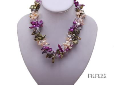 Three-strand 12-15mm Colorful Freshwater Pearl Necklace with Crystal Beads FNF525 Image 5