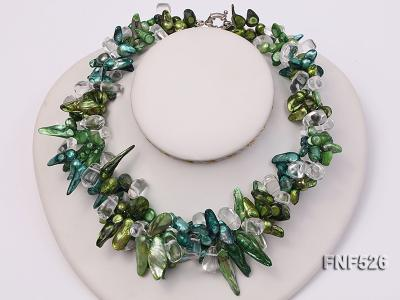 Three-strand Colorful Freshwater Pearl Necklace with Baroque Crystal Beads FNF526 Image 4