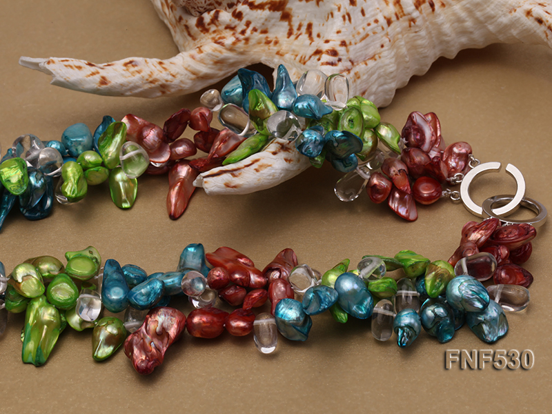Three-strand Blue, Green and Coffee Freshwater Pearl and White Crystal Beads Necklace big Image 2