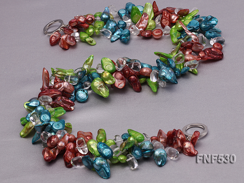Three-strand Blue, Green and Coffee Freshwater Pearl and White Crystal Beads Necklace big Image 4
