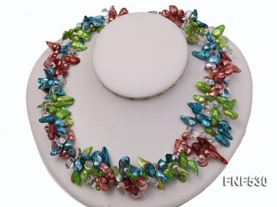 Three-strand Blue, Green and Coffee Freshwater Pearl and White Crystal Beads Necklace FNF530 Image 3