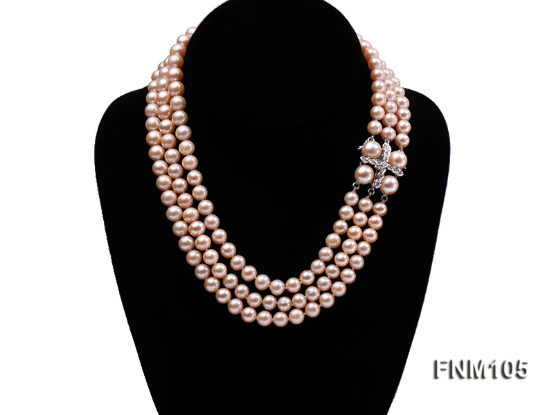 3 strand pink round freshwater pearl necklace with pearl clasp big Image 1