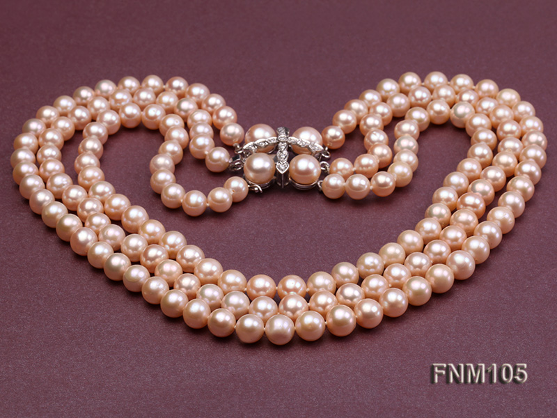3 strand pink round freshwater pearl necklace with pearl clasp big Image 3