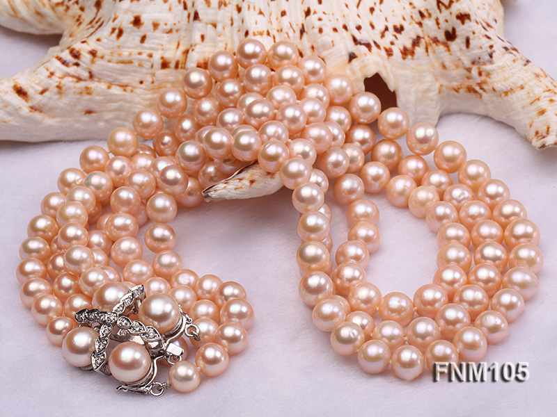 3 strand pink round freshwater pearl necklace with pearl clasp big Image 4