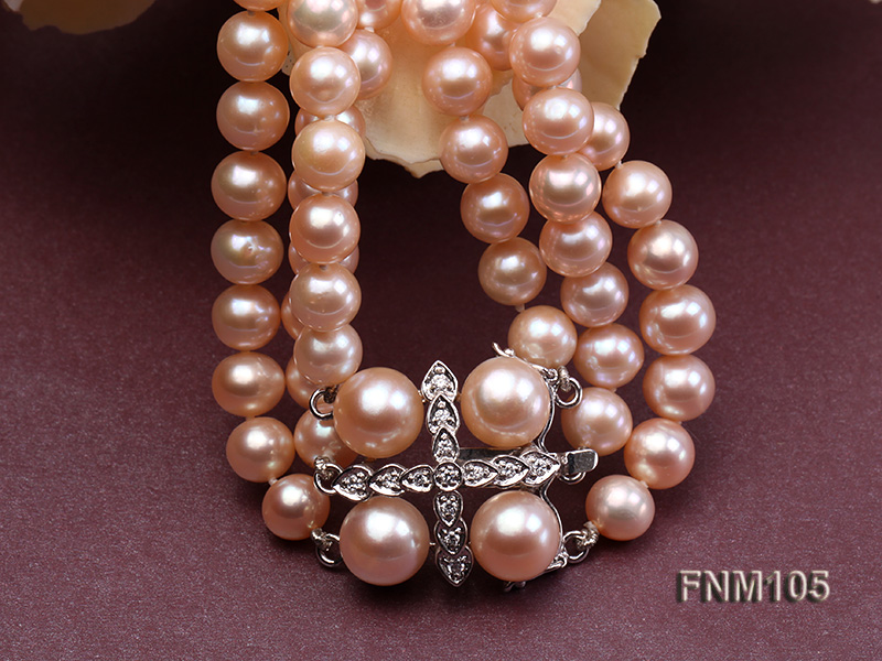 3 strand pink round freshwater pearl necklace with pearl clasp big Image 5