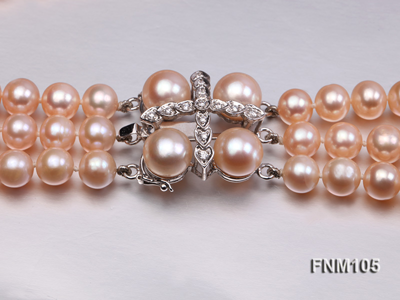 3 strand pink round freshwater pearl necklace with pearl clasp big Image 6