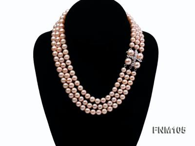 3 strand pink round freshwater pearl necklace with pearl clasp FNM105 Image 1