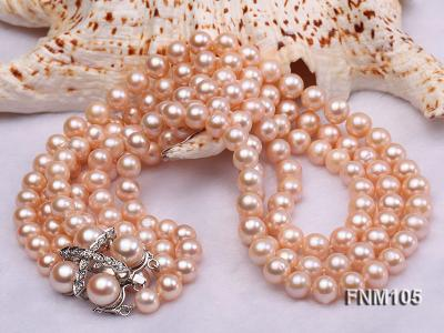 3 strand pink round freshwater pearl necklace with pearl clasp FNM105 Image 4