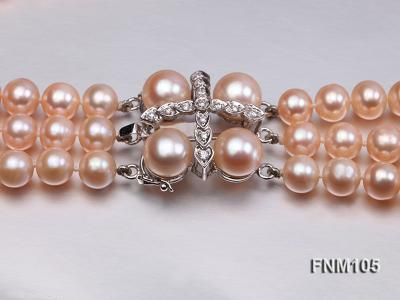 3 strand pink round freshwater pearl necklace with pearl clasp FNM105 Image 6