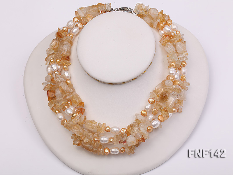 Four-strand White and Golden Freshwater Pearl and Yellow Crystal Chips Necklace big Image 1