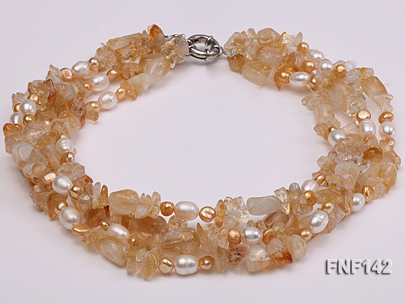 Four-strand White and Golden Freshwater Pearl and Yellow Crystal Chips Necklace big Image 3