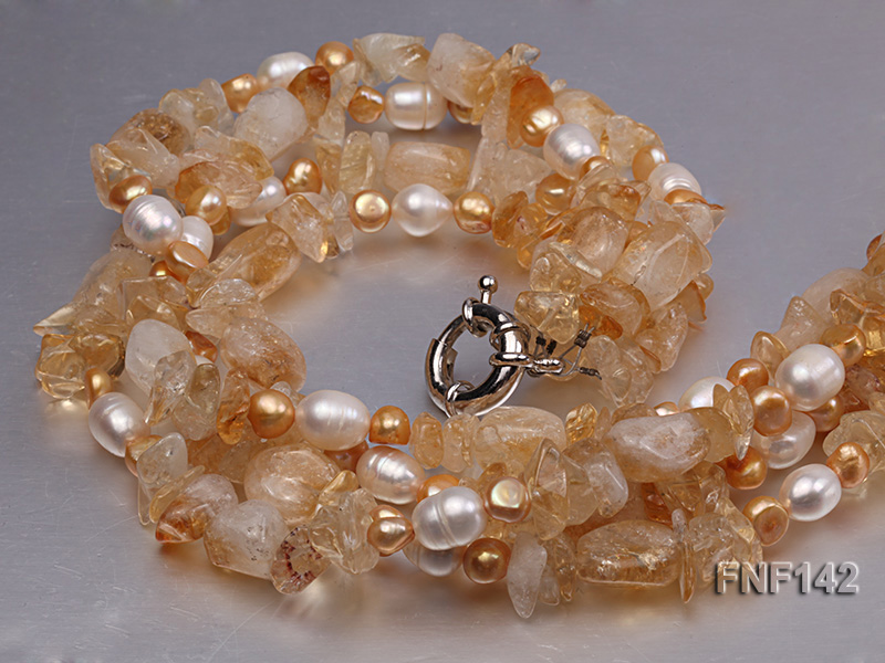 Four-strand White and Golden Freshwater Pearl and Yellow Crystal Chips Necklace big Image 4
