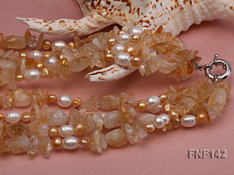 Four-strand White and Golden Freshwater Pearl and Yellow Crystal Chips Necklace big Image 5